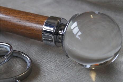 American Walnut pole – Acrylic Sienna finial for 65mm & 50mm dia pole
